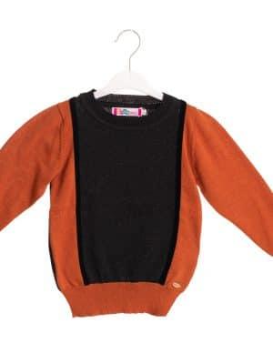 סוודר בנים מנצנץ | כתום / שחור