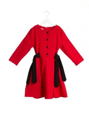 שמלת פסים קשירות אדום/כתום/ורוד