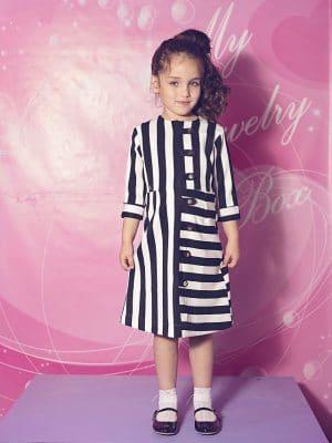 שמלת פסים בשילוב סאטן שחור לבן