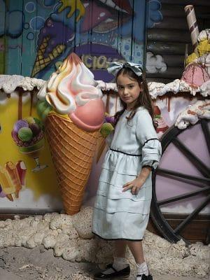 שמלת שבת קומות קפלונים -מנטה
