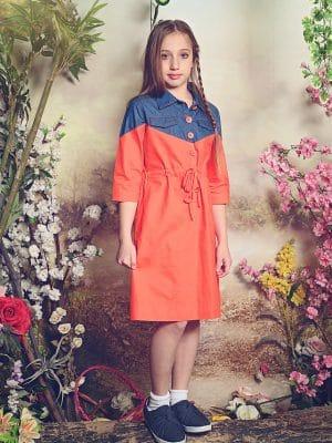 שמלת כותנה כתומה בשילוב ג'ינס