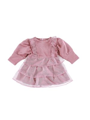 שמלת זואי אורגנזה | ורוד אפרסק