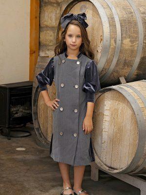 שמלה איזבלה קומות קטיפה אפור
