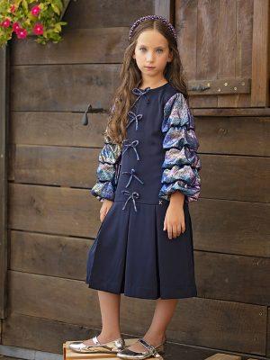 שמלת לורי עם פפיונים | כחול