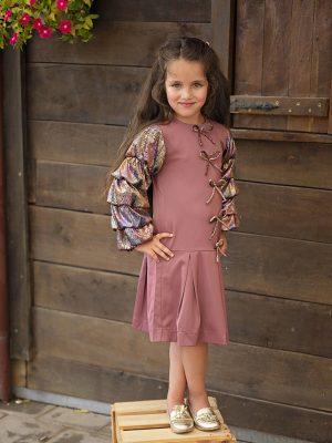 שמלת לורי עם פפיונים | אפרסק