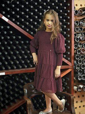שמלת ג'וליה שיפון נקודות | בורדו