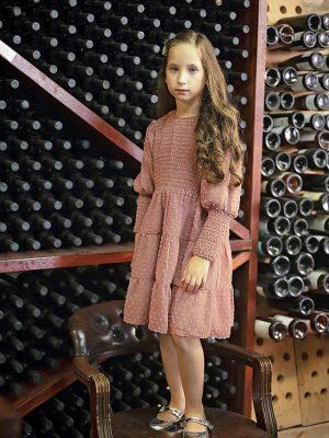 שמלת ג'וליה שיפון נקודות | אפרסק