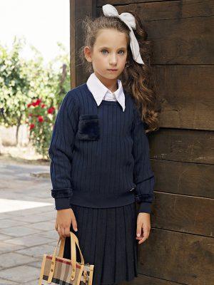 חצאית סריג פליסה | שחור