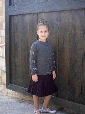 חצאית סריג פליסה | סגול