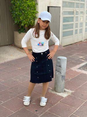 חצאית ג'ינס ניטים כחול