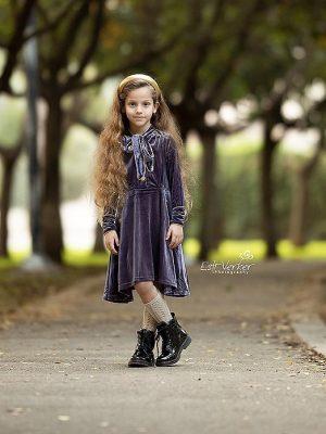 שמלה מרטינה פפיון קטיפה | סגול מעושן