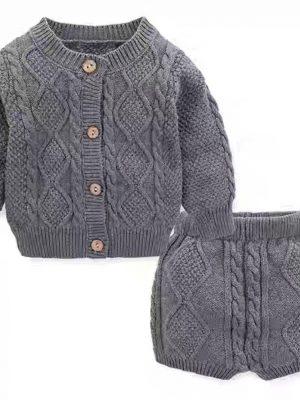 סוודר ומכנסון סריג – סט | אפור