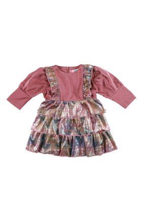 שמלת לורי קטיפה בייבי| ורוד