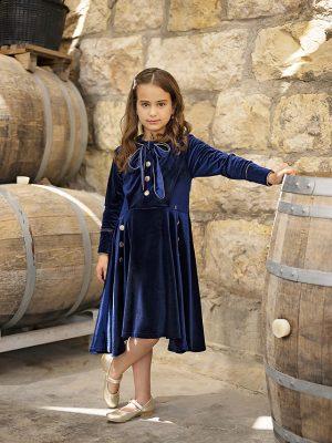 שמלת מרטינה פפיון קטיפה | כחול