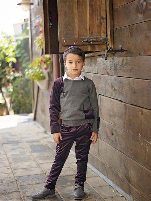 מכנס ג'ק ארוך קטיפה | סגול