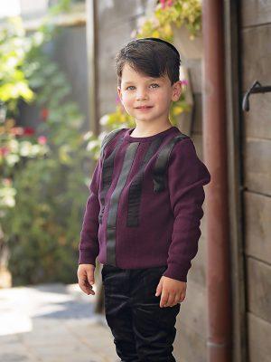 סוודר וויליאם פסים עור | בורדו