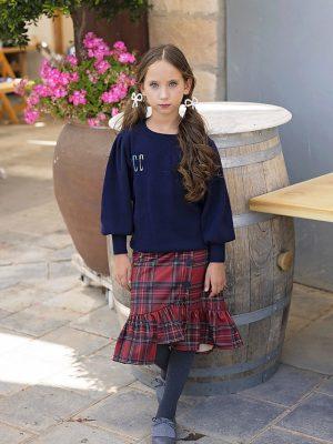 חצאית ליאם סקוטית | בורדו