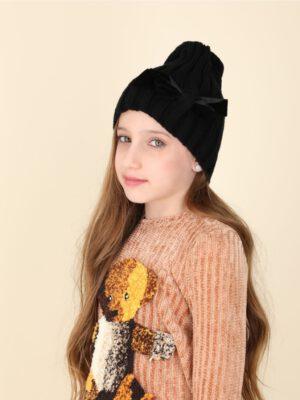 כובע אוליביה פפיון מושחל | שחור עם פפיון שחור
