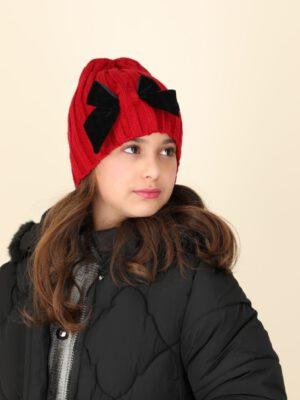 כובע אוליביה פפיון מושחל | אדום עם פפיון שחור