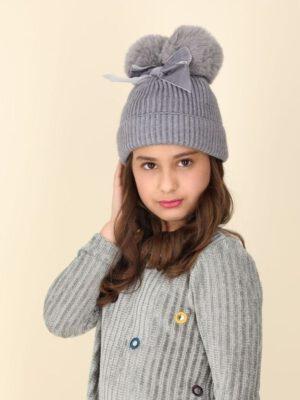 כובע פלורנס פונפונים | אפור עם פפיון אפור