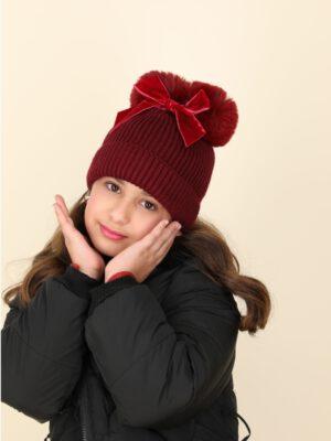 כובע פלורנס פונפונים | בורדו עם פפיון בורדו