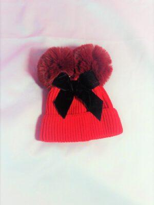 כובע פלורנס פונפונים | אדום עם פפיון שחור
