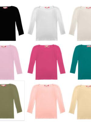 חולצת בסיס יוקרתית | 3/4 | צבעוני