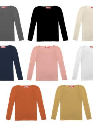 חולצת בסיס יוקרתית   ארוך   צבעוני