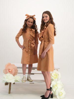 שמלת יקינטון כיווצים|אפרסק