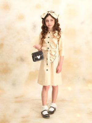 שמלת יקינטון כיווצים|בז'