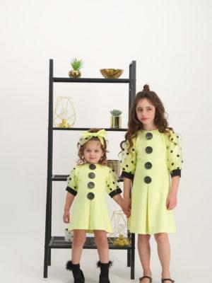 שמלת סביון עיגולים|בננה