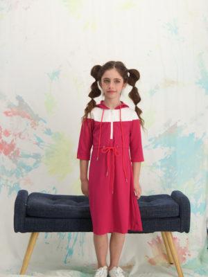 שמלת רקפת קפוצון|ורוד פוקסיה