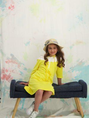 שמלת רקפת קפוצון|צהוב