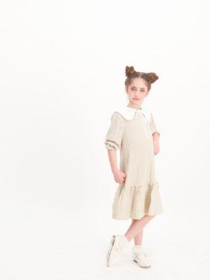 שמלת סחלב צווארון | בז'