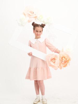 שמלת סחלב צווארון |אפרסק