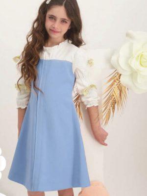 שמלת פטוניה פפיונים | תכלת