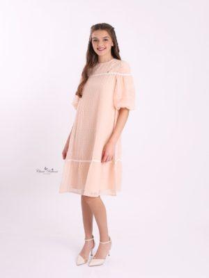 שמלת לילך חתך בכתף|אפרסק