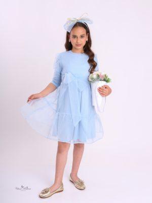 שמלת יסמין קומות אורגנזה תכלת