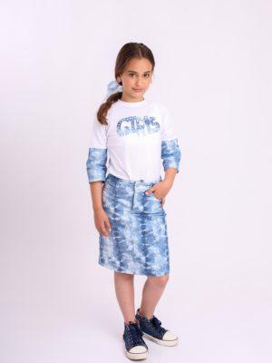 חצאית לוטם כחול טאי דאי  פסטל