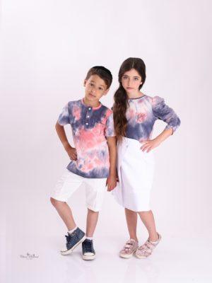 חולצת בנים טאי דאי|אפור כתום