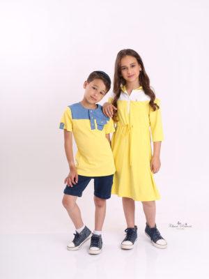 שמלת רקפת קפוצון צהוב