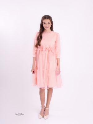שמלת יסמין קומות אורגנזה|אפרסק