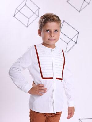 חולצת ארי  בנים לבנה עם כפלים ן פס בריק